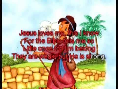 Song lyrics to the classic children's hymn Jesus Loves Me, written by Anna B. Warner, music by William B. Bradbury