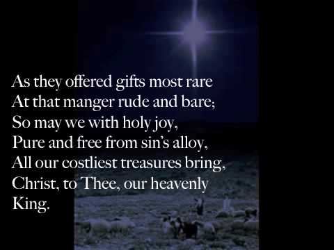 Song lyrics to As With Gladness, Men of Old, a classic Christmas carol