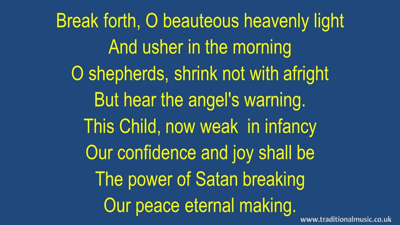 Light Of Christmas Lyrics.Song Lyrics To Break Forth O Beauteous Heavenly Light A